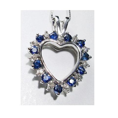 10K White Gold Sapphire & Diamond Heart Pendant
