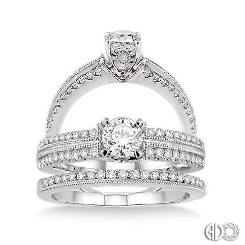 14K White Gold Vintage Wedding Set