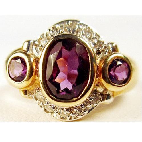 3-Stone Amethyst & Diamond Ring