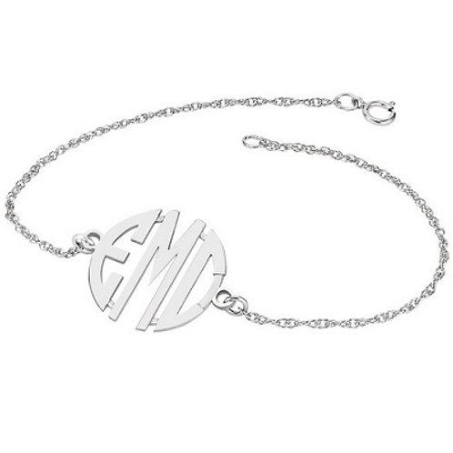 14k 20mm 3-Letter Block Monogram Bracelet