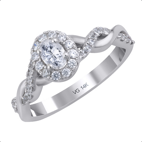 14K White Gold Diamond Engagement Ring with 0.27ct. Diamond Center Stone