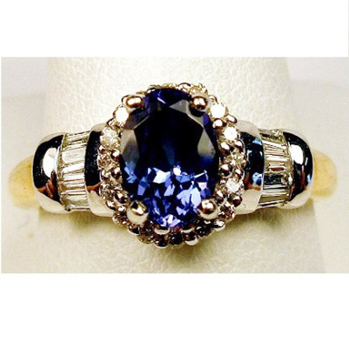 1.3ct Oval Tanzanite & Diamond Ring