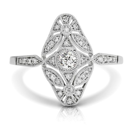 14K WHITE DIAMOND FASHION RING;DIAMOND=1/4 CTTW