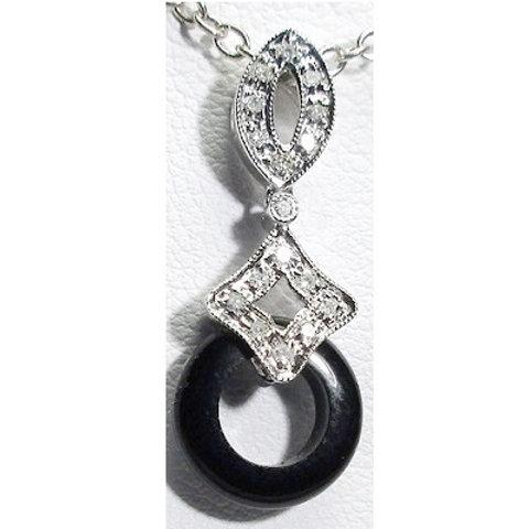 14K White Gold, Diamond & Black Onyx Pendant