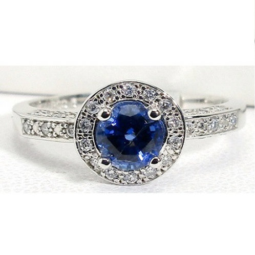 14K White Gold, Chatham Blue Sapphire & Diamond Halo Engagement