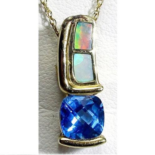 Opal & Blue Topaz Pendant