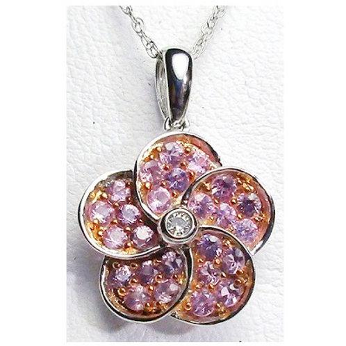 Pink Sapphire Flower Pendant