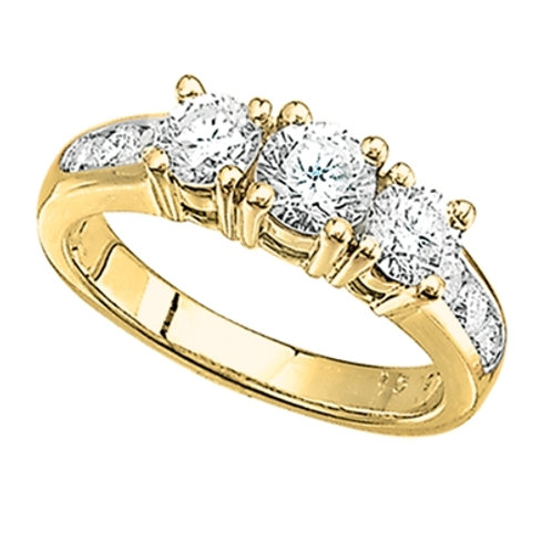 14K Yellow Gold 3-Stone Engagement Ring