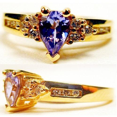 Pear Shaped Tanzanite & Diamond Ring