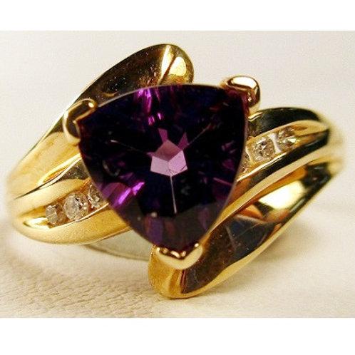 Trillion Cut Amethyst & Diamond Ring