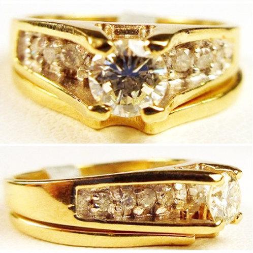 14K Yellow Gold & Diamond Wedding Set