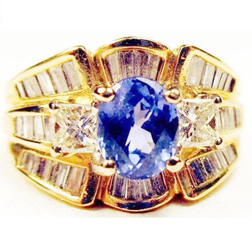 1.30ct Oval Ceylon Blue Sapphire & 1.50ct Diamond Ring