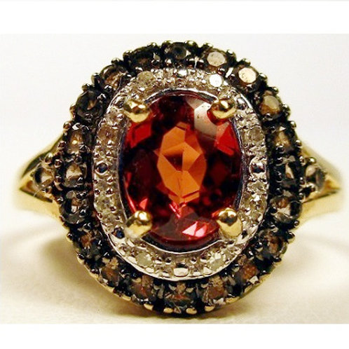 Oval Hessonite Garnet, Chocolate & White Diamond Ring