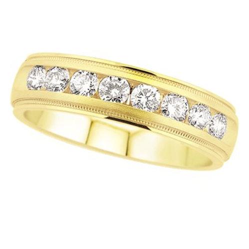 14K Yellow Gold Men's Diamond Wedding Band