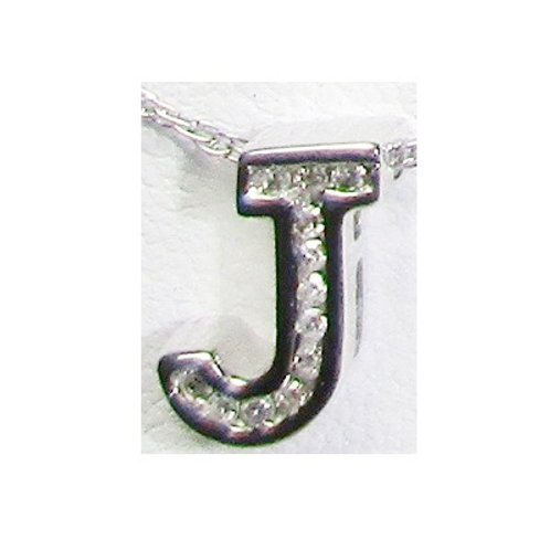 "18K White Gold & Diamond ""J"" Pendant"