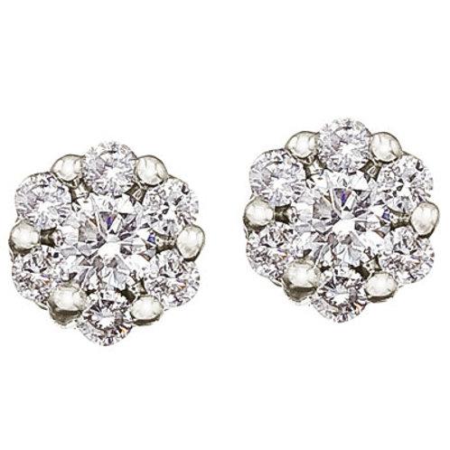 14K White Gold .50 ct Diamond Clustaire Earrings