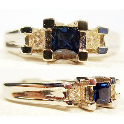 Princess Cut Blue Sapphire & Diamond 3-Stone Ring