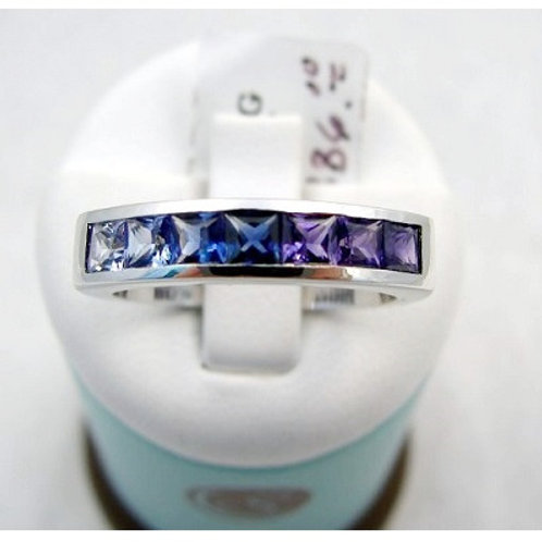 14K White Gold Blue and Purple Sapphire Ring