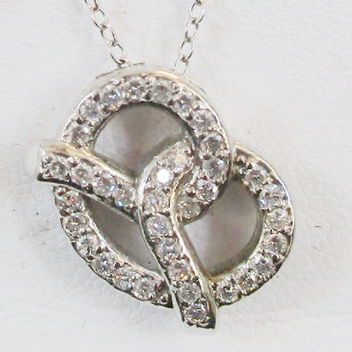 Interwoven14K white gold and diamond pendant