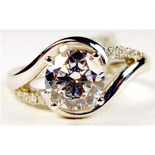 14k White Gold & Diamond Bypass Engagement Ring Mounting