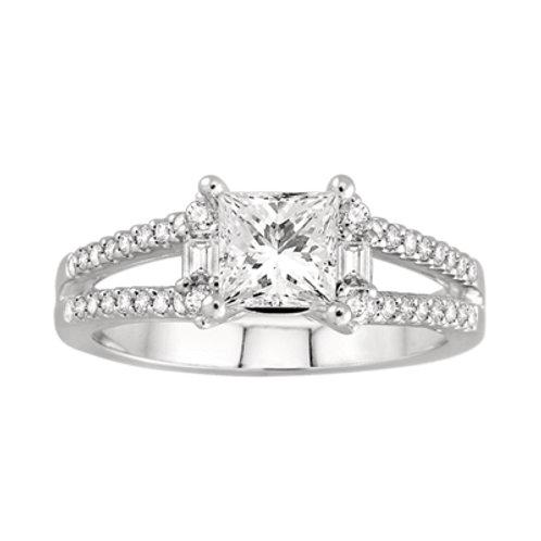 14K White Gold Semi-Mount Vintage Engagement Ring | Ash22004