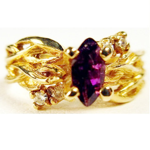 Marquise Amethyst & Diamond Woven Branch Ring
