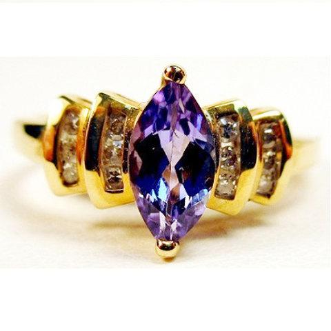 Marquise Tanzanite & Diamond Ring