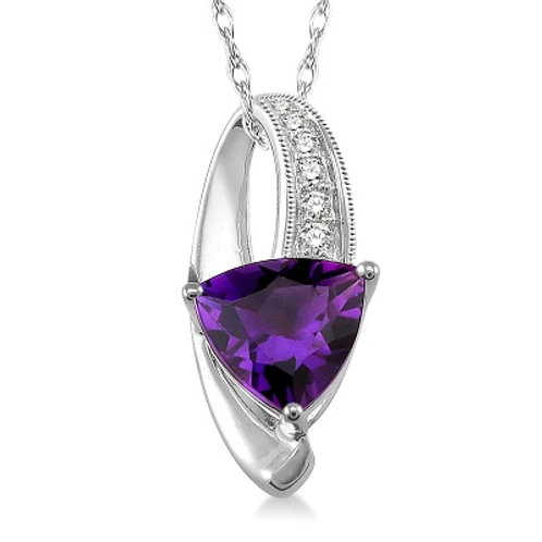 trillion shape diamond & gemstone pendant