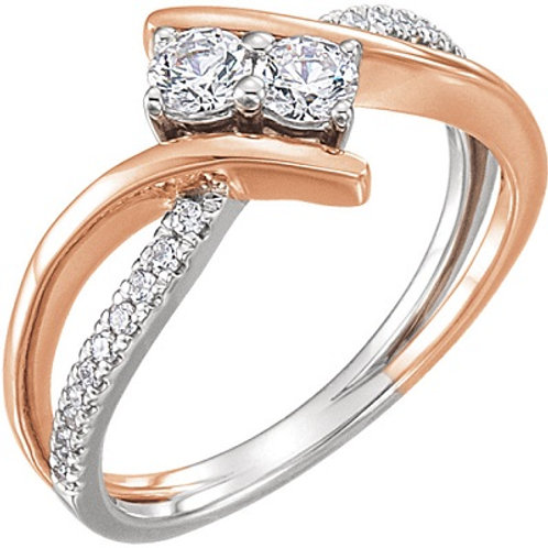 14K White 3.5mm Round Engagement Ring Mounting