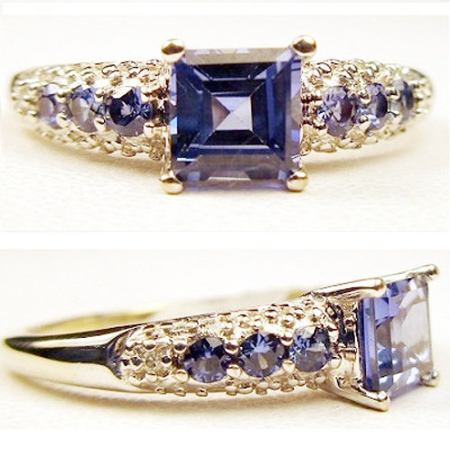 Step Princess Cut Tanzanite & Diamond Ring