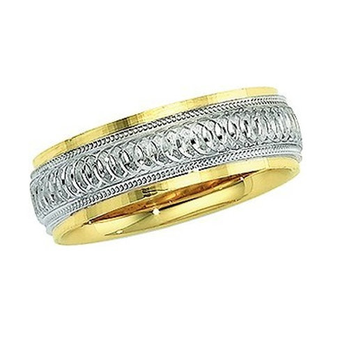 14K Gold Two Tone Men's Wedding Band |
