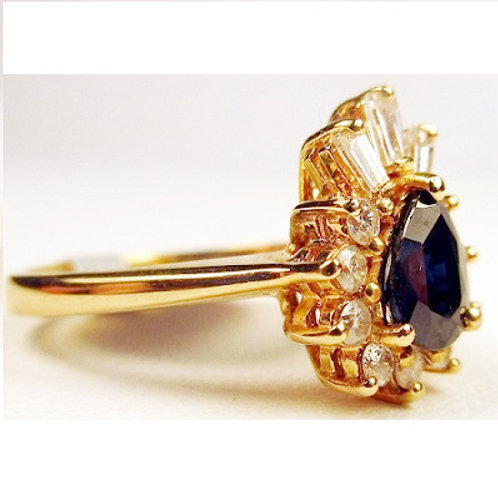 "Pear Shaped Blue Sapphire & Diamond ""Pineapple"" Ring"