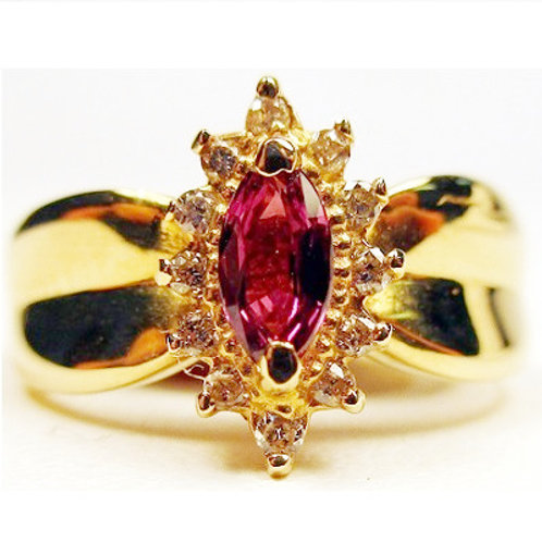 Marquise Shaped Ruby & Round Diamond Ring