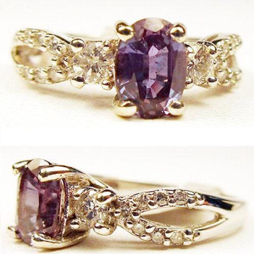Oval Created Alexandrite & Diamond 3-Stone Ring