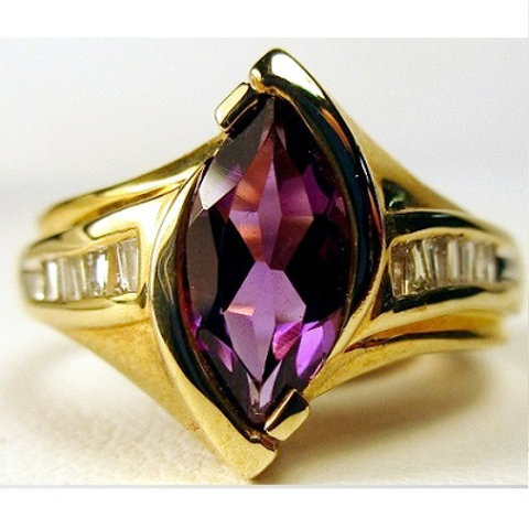 Marquise Amethyst & Baguette Diamond Ring
