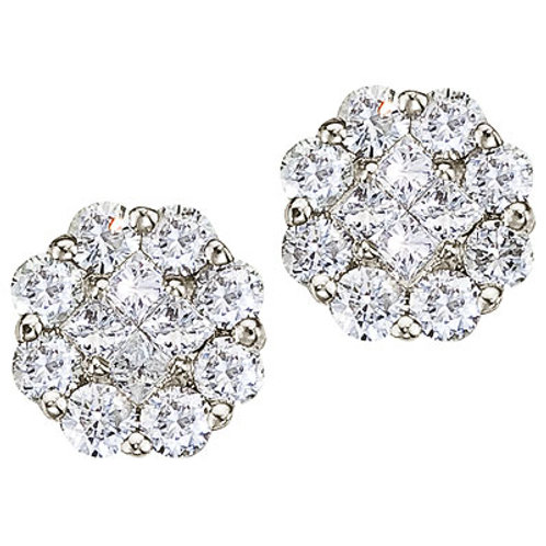14K White Gold .50ct Cluster Diamond Earrings