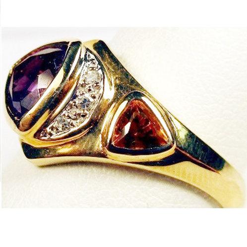 Trillion Cut Amethyst, Citrine & Diamond Ring