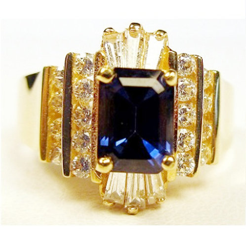 Emerald Cut Lab Created Blue Sapphire & Cubic Zirconia Ring