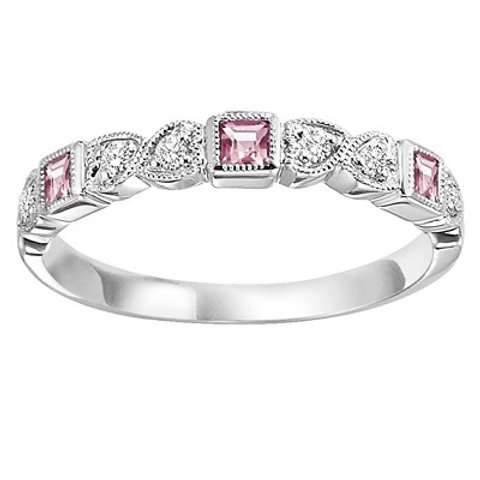 Pink Tourmaline and Diamond stones framed in 14K white gold.