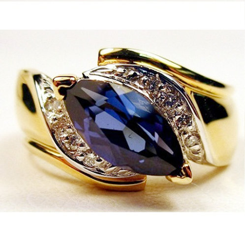Marquise Created Blue Sapphire & Diamond Ring