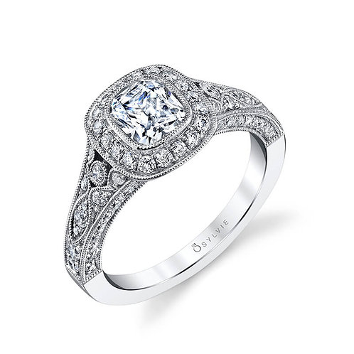 Cushion Cut Bezel Set Engagement Ring