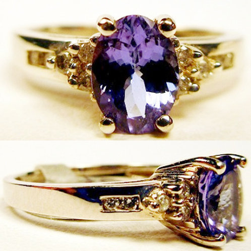 1.3ct Oval Tanzanite & Diamond Ring
