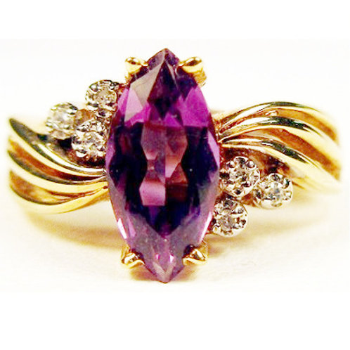 Marquise Shaped Amethyst & Diamond Ring