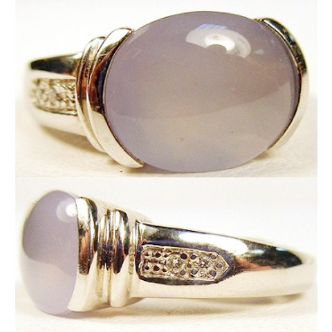 Oval Cabochon Chalcedony & Diamond Ring