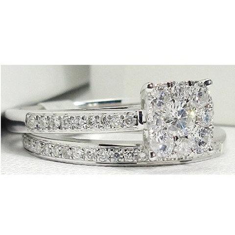 14K White Gold & Diamond Cluster Engagement Ring