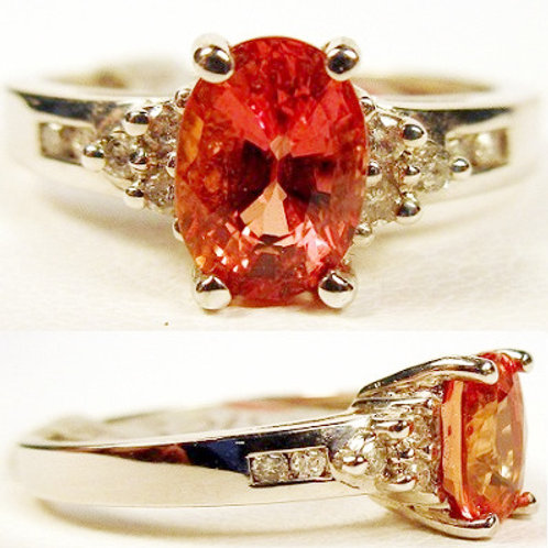 1.2ct Orange Sapphire & Diamond Ring