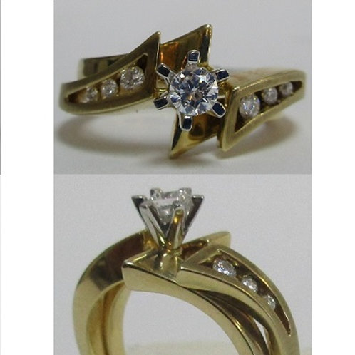 14K Yellow Gold & Diamond Wedding Set