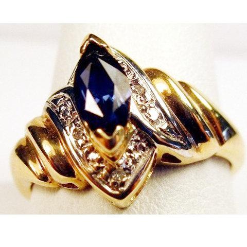 Marquise Shaped Tanzanite & Diamond Ring