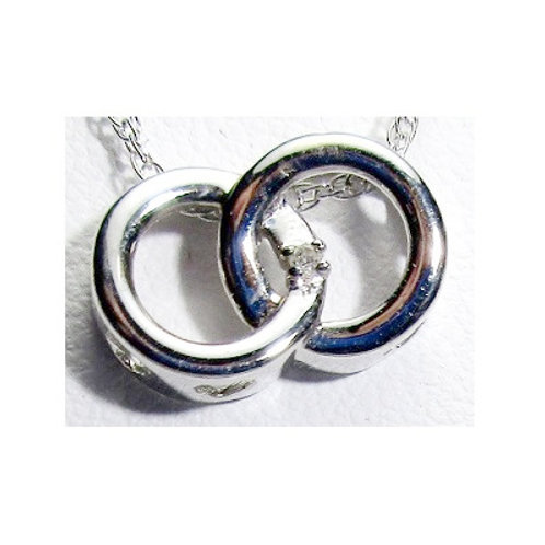Double Circle Pendant with Diamond Accent