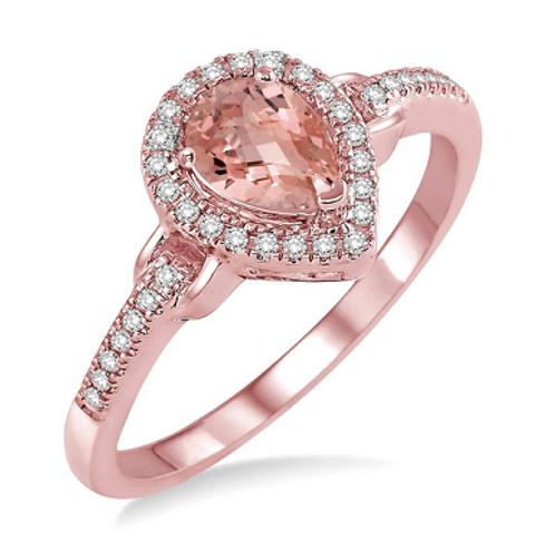 pear shape diamond & morganite ring